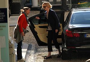 Nicole Kidman durante la sua permanenza a Genova, per le riprese del film Grace di Monaco
