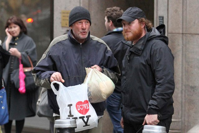 Richard Gere is convincing as homeless man while filming
