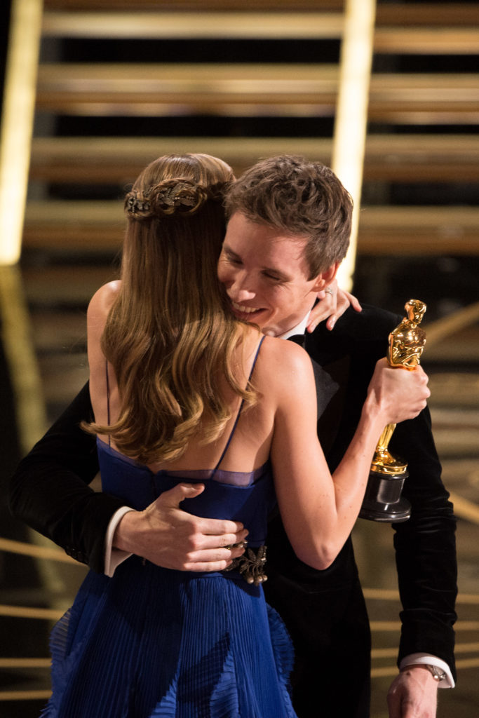 "Brie Larson accepts the Oscar® for Performance by an actress in a leading role, for work on ""Room"" from Oscar®-nominee and presenter Eddie Redmayne during the live ABC Telecast of The 88th Oscars® at the Dolby® Theatre in Hollywood, CA on Sunday, February 28, 2016."